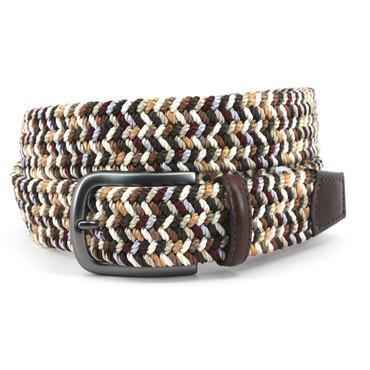Italian Woven Rayon Elastic Belt in Brown/Camel Multi
