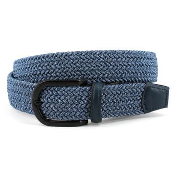 Italian Braided Melange Rayon Elastic Belt in Navy