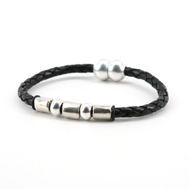 """Braided Leather """"Andiamo"""" Bracelet With Sterling Plate Beads - Black"""