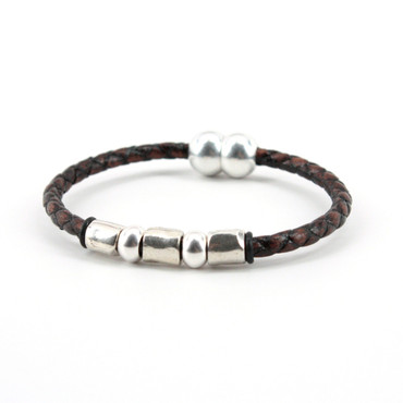 """Braided Leather """"Andiamo"""" Bracelet With Sterling Plate Beads - Brown"""
