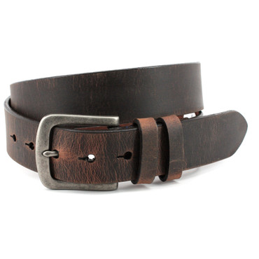 Distressed Waxed Harness Leather Belt - Antique Brown