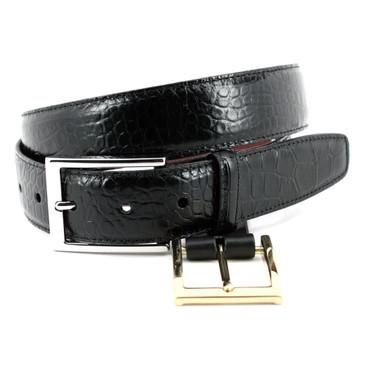 Alligator Grain Embossed Calfskin Belt - Black