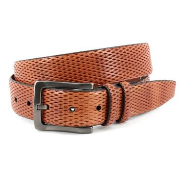 Italian Lazered Diamond Calf Belt - Honey