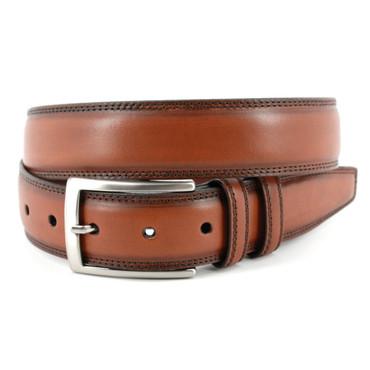 Hand Stained Italian Kipskin Belt in Walnut
