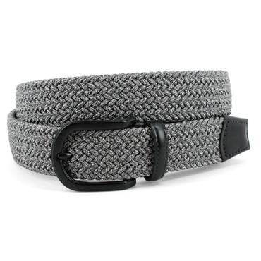 Italian Braided Melange Rayon Elastic Belt in Grey