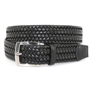 Big and Tall Black Italian Woven Stretch Leather Casual Belt