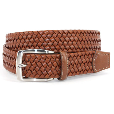XLONG Italian Woven Stretch Leather Belt - Cognac (tan)