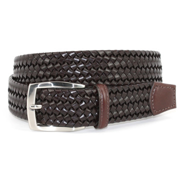 Big and Tall Brown Italian Woven Stretch Leather Casual Belt