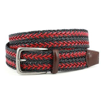 Italian Woven Linen Belt - Navy/Red