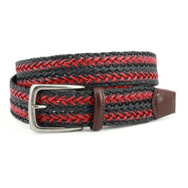 Italian Woven Linen Belt in Navy and Red