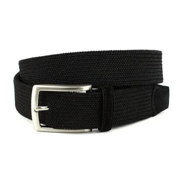Italian Tubular Woven Rayon Elastic Belt in Black
