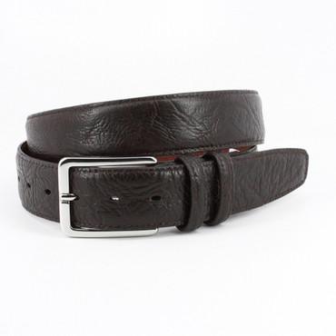 Shrunken Bull Shoulder Leather Belt in Brown