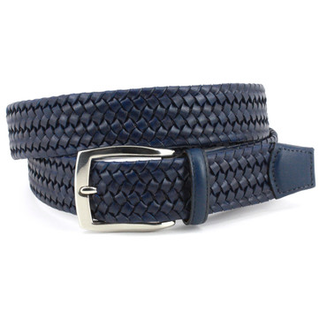 Navy Italian Woven Stretch Leather Casual Belt