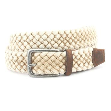 Italian Woven Distressed Cotton Belt in Cream