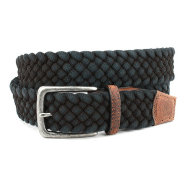 Italian Woven Distressed Cotton Belt - Black