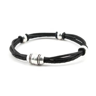 Braided Leather Trinity Bracelet - Black