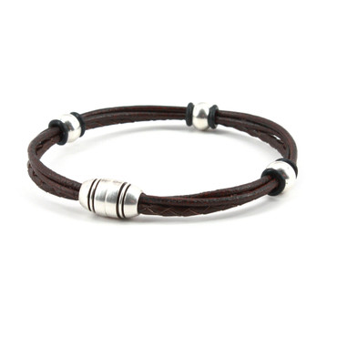 Braided Leather Trinity Bracelet - Brown