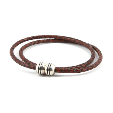 Braided Harness Leather Double Wrap Bracelet - Brown