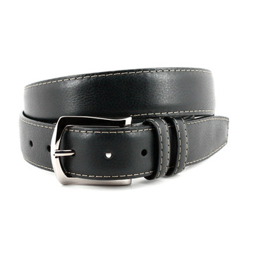 Contrast Stitched Italian Soft Calfskin Belt - Black