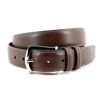 Italian Soft Calfskin Belt with Contrast Stitching in Brown