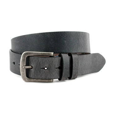 Distressed Waxed Harness Leather Belt - Charcoal