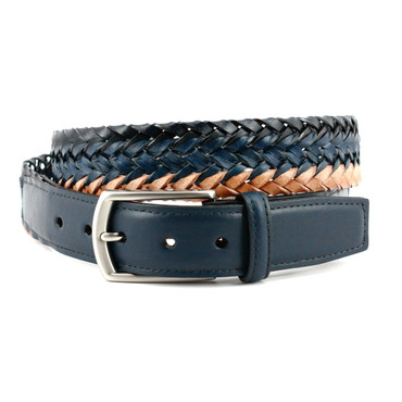 Italian Tri-Color Woven Leather Belt in Navy, Blue and Tan