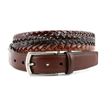 Italian Tri-Color Woven Leather Belt - Mahogany/Brown/Cognac