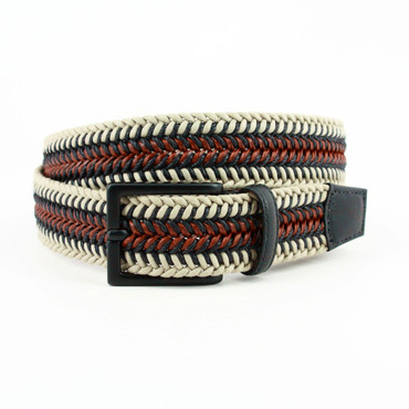 Italian Woven Cotton & Leather Belt in Taupe/Cognac
