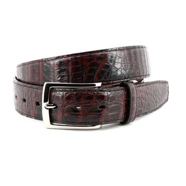 South American Caiman Belt - Black Cherry