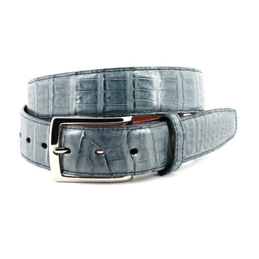 South American Caiman Belt - Blue Jean