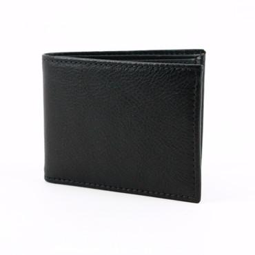 Italian Glazed Milled Calfskin Leather Billfold Wallet - Black