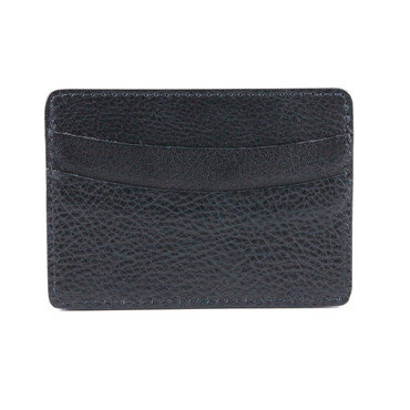 Italian Glazed Milled Calfksin Leather ID/Card Case - Black