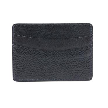 Italian Glazed Milled Calfskin Leather ID/Card Case in Black