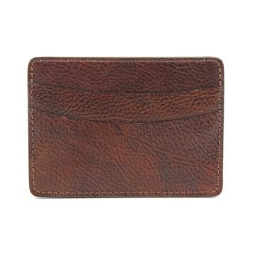Italian Glazed Milled Calfksin Leather ID/Card Case - Brown