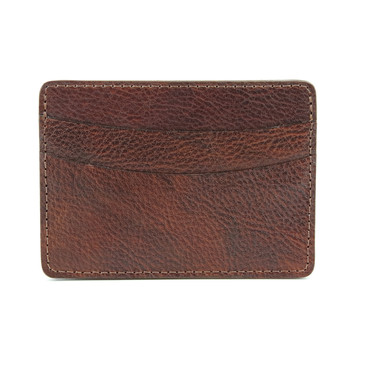 Italian Glazed Milled Calfskin Leather ID/Card Case in Brown