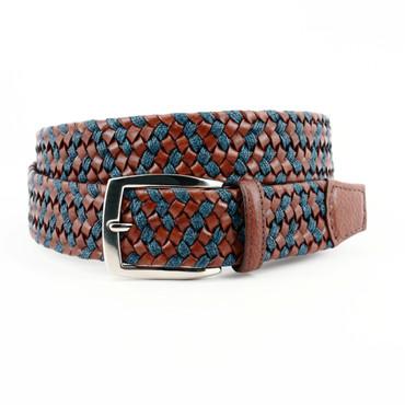 XL-Italian Braided Leather & Linen Belt - Cognac/Navy
