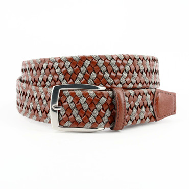 Big & Tall Italian Braided Leather & Linen Belt in Cognac/Taupe