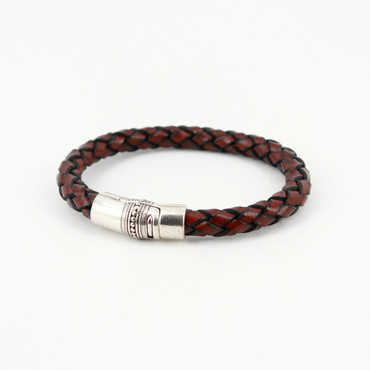 Thick Braided Leather Bacchus Bracelet - Brown