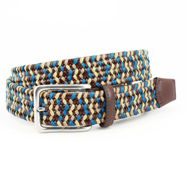 Italian Woven Leather & Rayon Belt in Brown, Blue, and Yellow