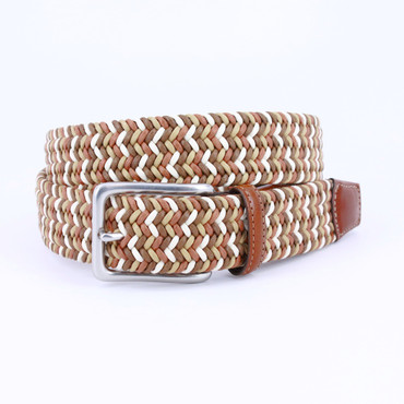 Italian Woven Cotton Belt - Tan/Brown/Cream