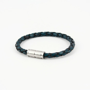 Antiqued Braided Leather Piccolo Bracelet - Navy