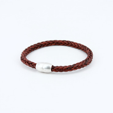 Antiqued Plaited Leather Modo Bracelet - Red Brown