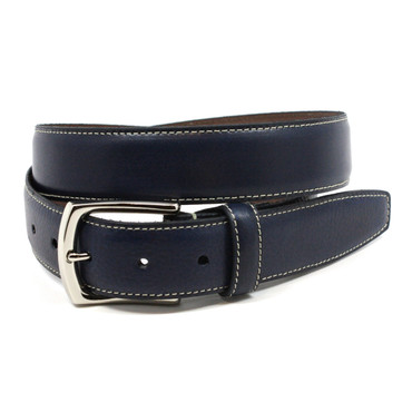 Navy Burnished Tumbled Leather Belt with contrast stitch