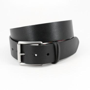 Italian Burnished Shrunken Calfskin Belt in Black