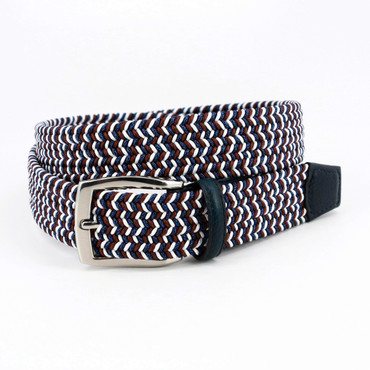 Italian Braided Elastic Rayon Stretch Belt in Blue/Red/White
