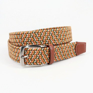 Italian Braided Elastic Rayon Stretch Belt in Loden/Gold/Sand