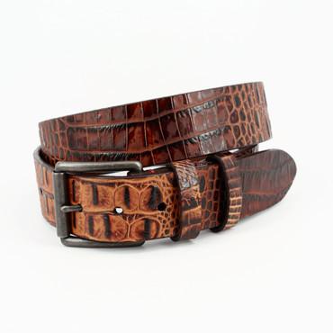 Antique Crocodile  Grain Calfskin Belt - Cognac