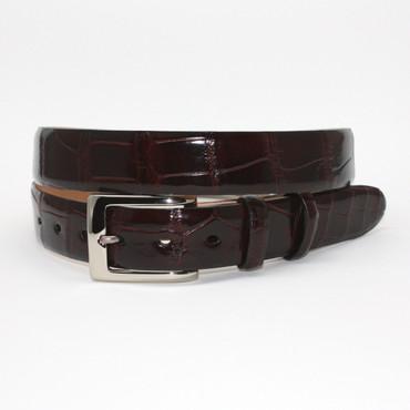 Genuine American Alligator belt in brown with polished nickel buckle