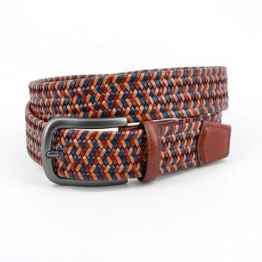 Multi colored Tan, blue & cognac Italian Mini Strand Woven Leather belt