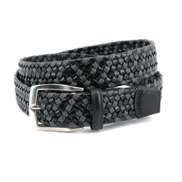 Black Italian Leather & Grey Linen Braided Casual Belt